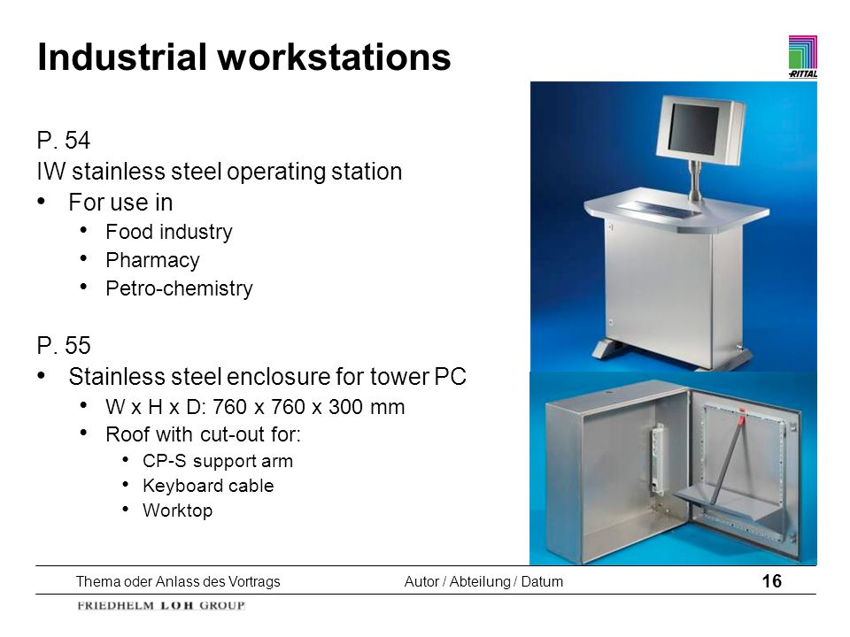 Thema oder Anlass des VortragsAutor / Abteilung / Datum 16 Industrial workstations P. 54 IW stainless steel operating station For use in Food industry