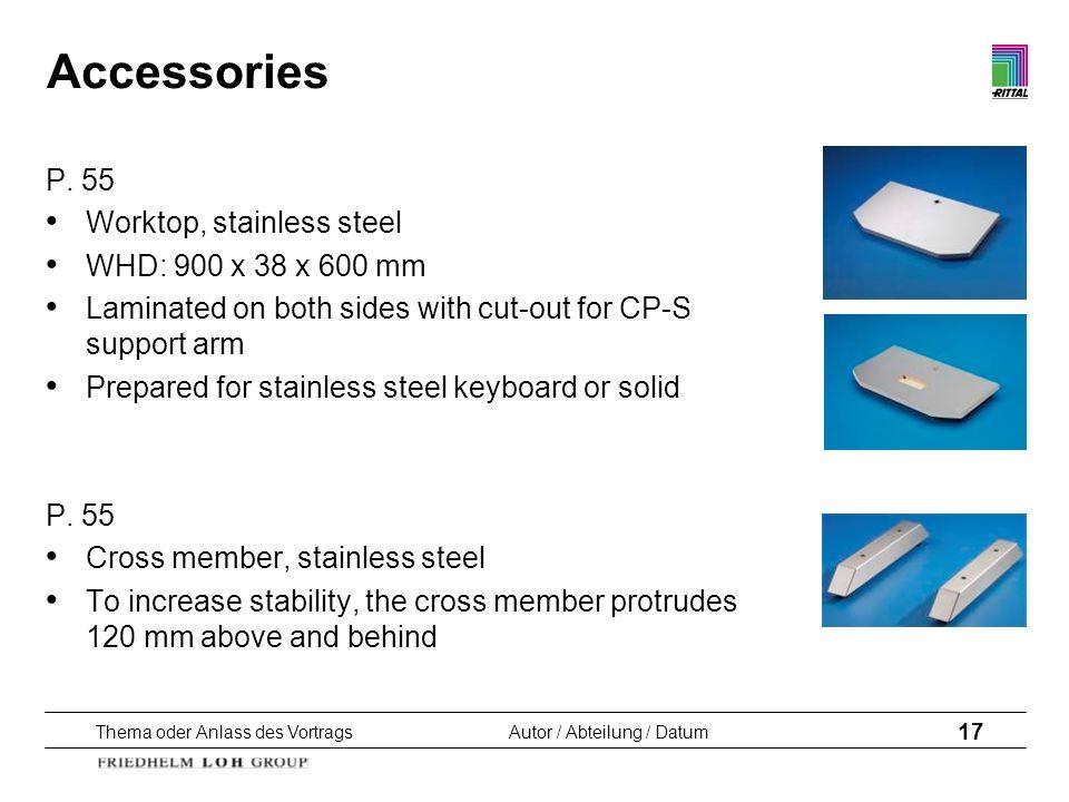 Thema oder Anlass des VortragsAutor / Abteilung / Datum 17 Accessories P. 55 Worktop, stainless steel WHD: 900 x 38 x 600 mm Laminated on both sides w