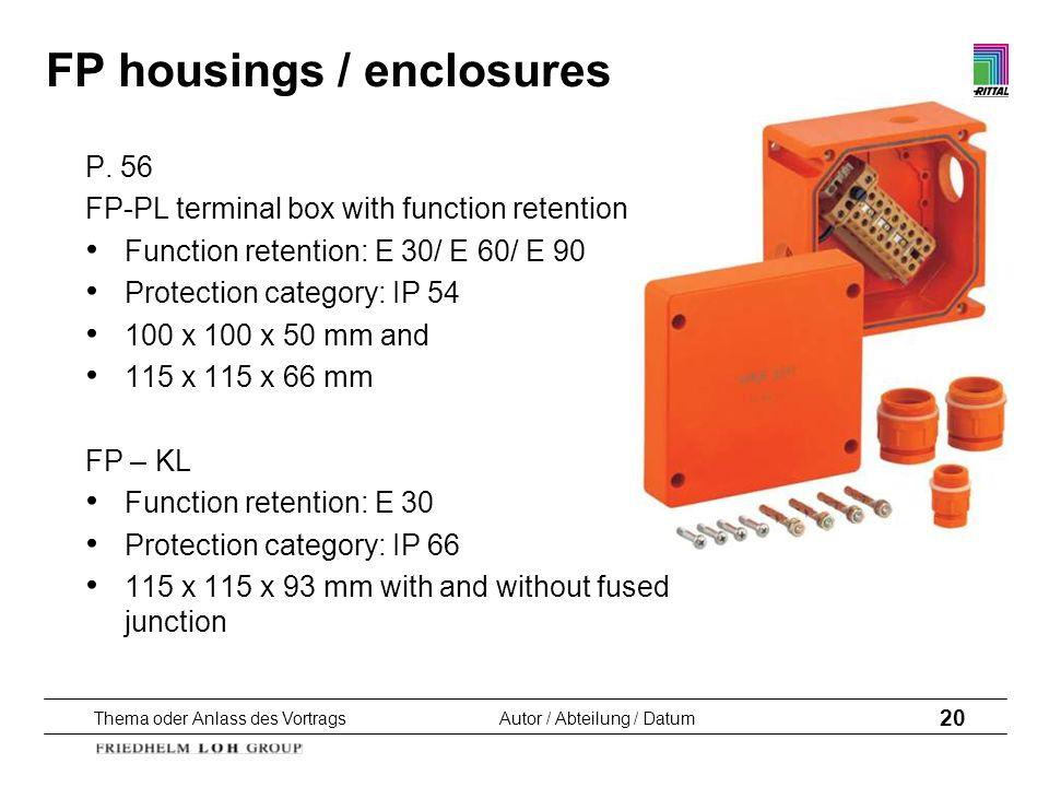Thema oder Anlass des VortragsAutor / Abteilung / Datum 20 FP housings / enclosures P. 56 FP-PL terminal box with function retention Function retentio