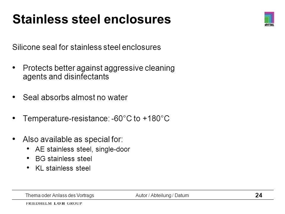 Thema oder Anlass des VortragsAutor / Abteilung / Datum 24 Stainless steel enclosures Silicone seal for stainless steel enclosures Protects better aga