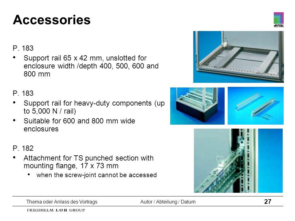 Thema oder Anlass des VortragsAutor / Abteilung / Datum 27 Accessories P. 183 Support rail 65 x 42 mm, unslotted for enclosure width /depth 400, 500,