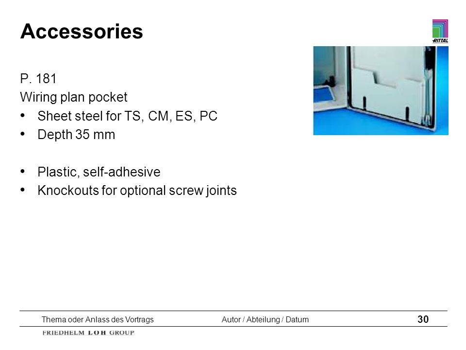 Thema oder Anlass des VortragsAutor / Abteilung / Datum 30 Accessories P. 181 Wiring plan pocket Sheet steel for TS, CM, ES, PC Depth 35 mm Plastic, s