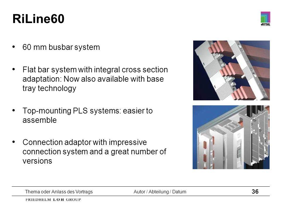 Thema oder Anlass des VortragsAutor / Abteilung / Datum 36 RiLine60 60 mm busbar system Flat bar system with integral cross section adaptation: Now al