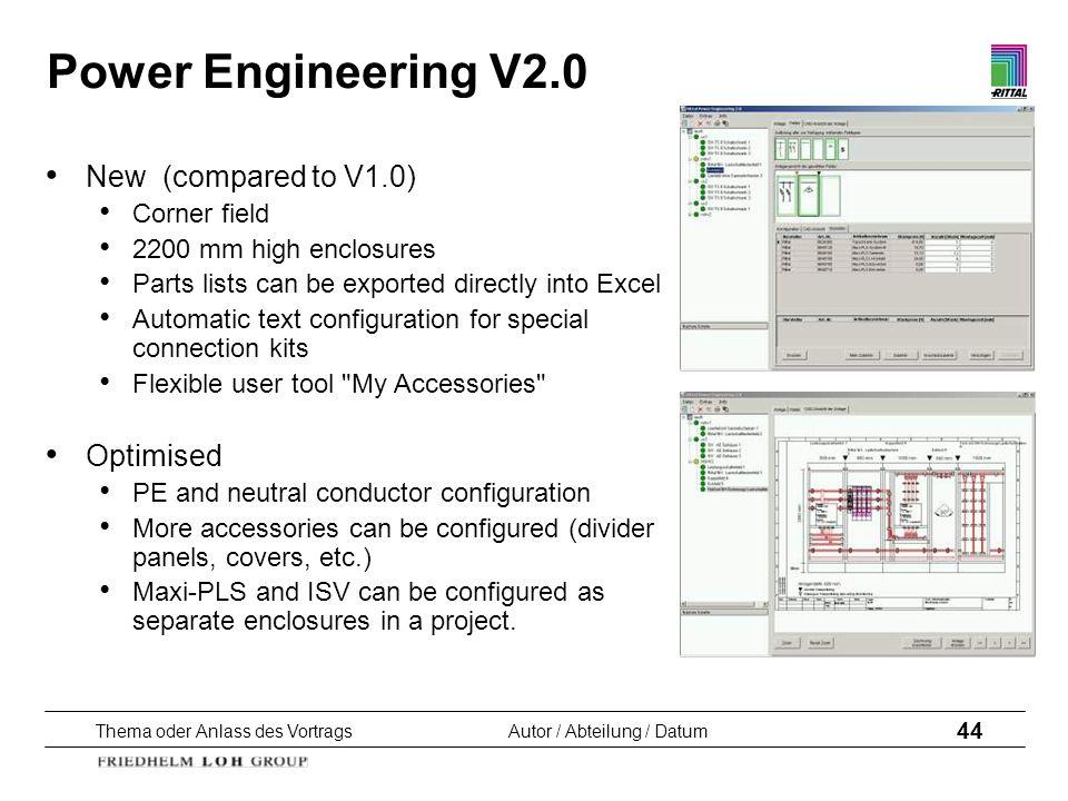 Thema oder Anlass des VortragsAutor / Abteilung / Datum 44 Power Engineering V2.0 New (compared to V1.0) Corner field 2200 mm high enclosures Parts li