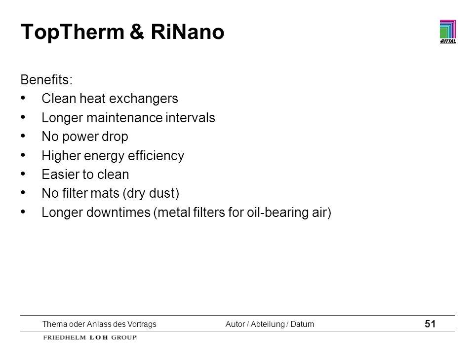 Thema oder Anlass des VortragsAutor / Abteilung / Datum 51 TopTherm & RiNano Benefits: Clean heat exchangers Longer maintenance intervals No power dro