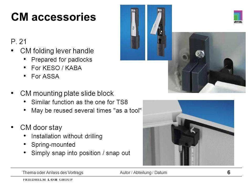 Thema oder Anlass des VortragsAutor / Abteilung / Datum 6 CM accessories P. 21 CM folding lever handle Prepared for padlocks For KESO / KABA For ASSA