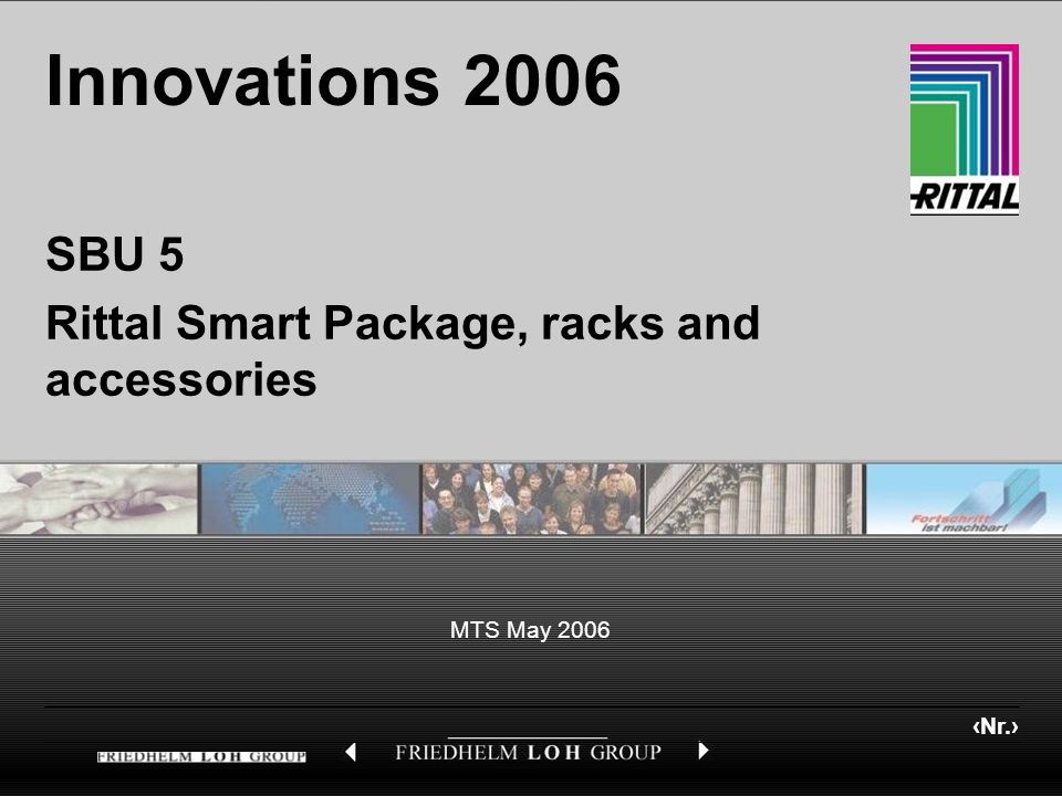 Nr. MTS May 2006 Innovations 2006 SBU 5 Rittal Smart Package, racks and accessories