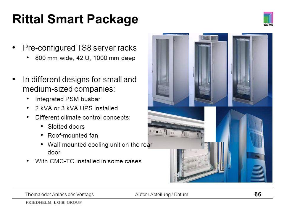 Thema oder Anlass des VortragsAutor / Abteilung / Datum 66 Rittal Smart Package Pre-configured TS8 server racks 800 mm wide, 42 U, 1000 mm deep In dif
