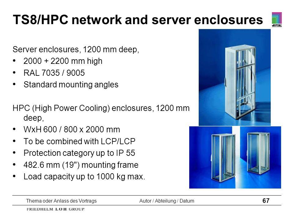 Thema oder Anlass des VortragsAutor / Abteilung / Datum 67 TS8/HPC network and server enclosures Server enclosures, 1200 mm deep, 2000 + 2200 mm high