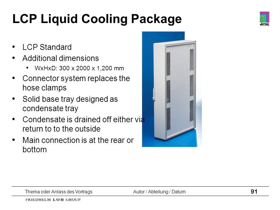 Thema oder Anlass des VortragsAutor / Abteilung / Datum 91 LCP Liquid Cooling Package LCP Standard Additional dimensions WxHxD: 300 x 2000 x 1,200 mm