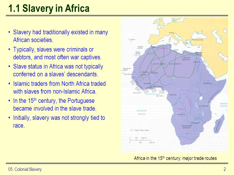 05. Colonial Slavery2 1.1 Slavery in Africa Slavery had traditionally existed in many African societies. Typically, slaves were criminals or debtors,