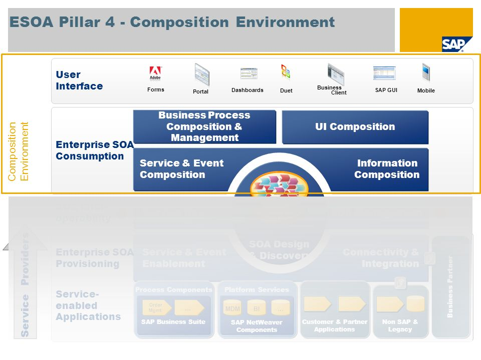 ESOA Pillar 4 - Composition Environment Process Components SAP Business Suite Order Mgmt.... Platform Services SAP NetWeaver Components Non SAP & Lega