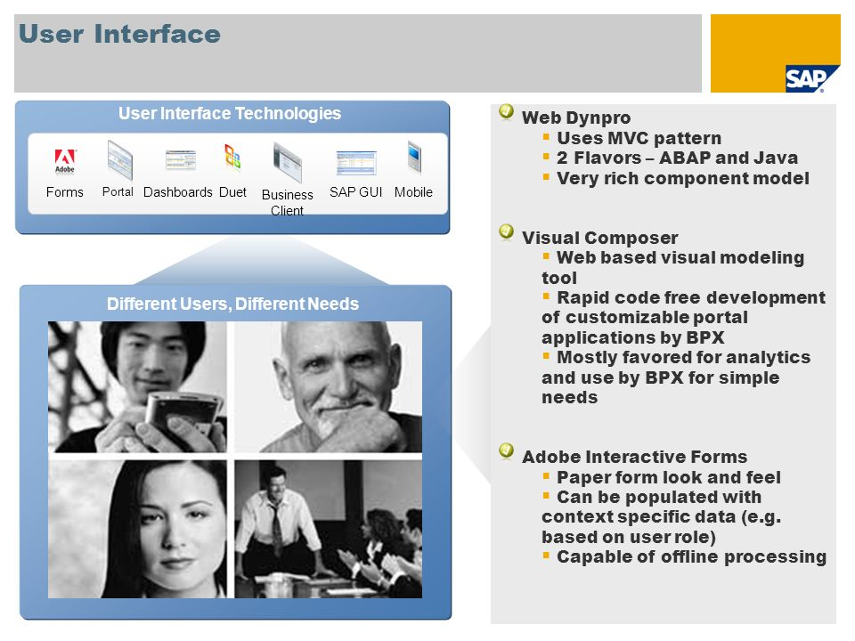 User Interface User Interface Technologies Web Dynpro Uses MVC pattern 2 Flavors – ABAP and Java Very rich component model Visual Composer Web based v
