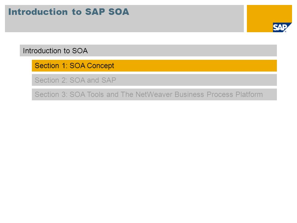 Introduction to SAP SOA Section 2: SOA and SAP Section 3: SOA Tools and The NetWeaver Business Process Platform Introduction to SOA Section 1: SOA Con