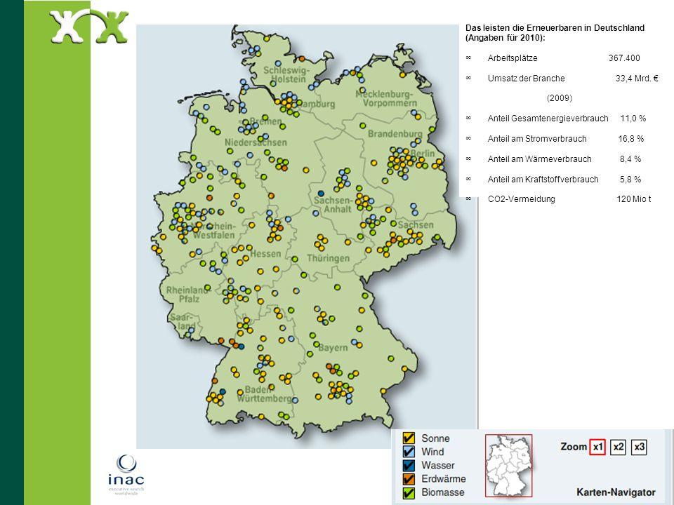 20 Das leisten die Erneuerbaren in Deutschland (Angaben für 2010): Arbeitsplätze 367.400 Umsatz der Branche 33,4 Mrd. (2009) Anteil Gesamtenergieverbr