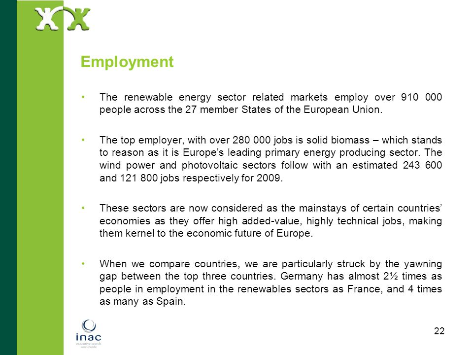 22 Employment The renewable energy sector related markets employ over 910 000 people across the 27 member States of the European Union. The top employ
