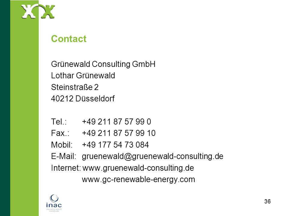 36 Contact Grünewald Consulting GmbH Lothar Grünewald Steinstraße 2 40212 Düsseldorf Tel.: +49 211 87 57 99 0 Fax.: +49 211 87 57 99 10 Mobil: +49 177