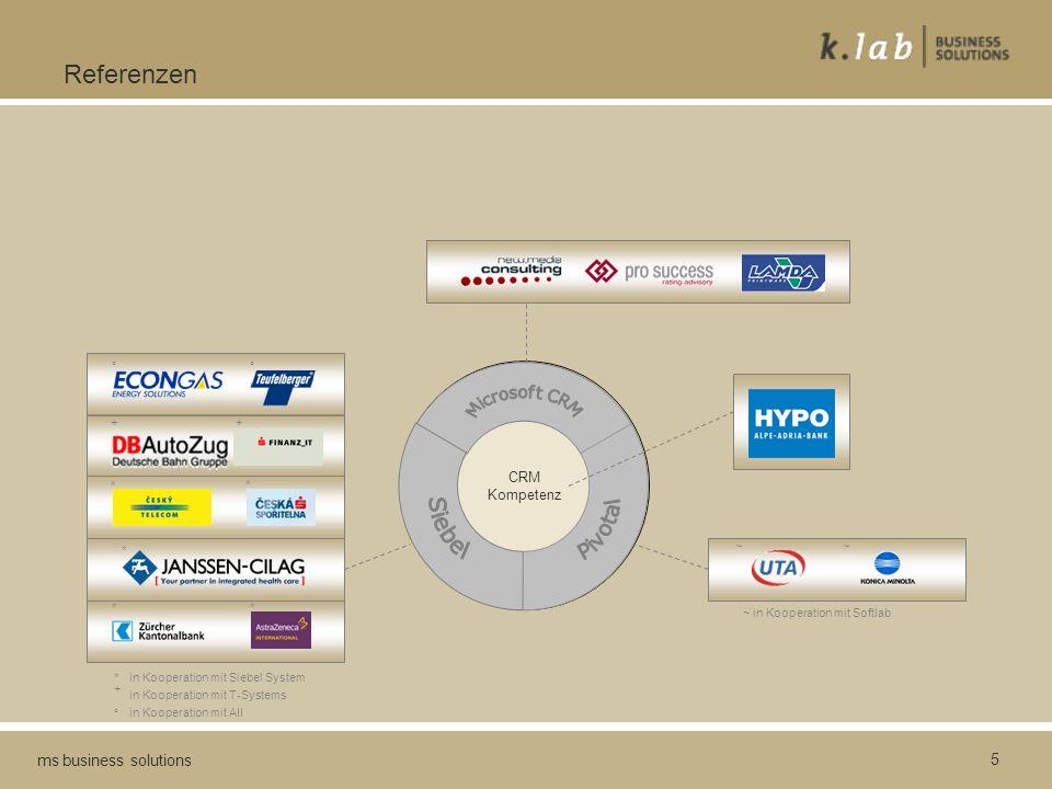 5 ms business solutions Referenzen CRM Kompetenz + + * * * * * ° ° in Kooperation mit Siebel System in Kooperation mit T-Systems in Kooperation mit AII * + ° ~ in Kooperation mit Softlab ~~