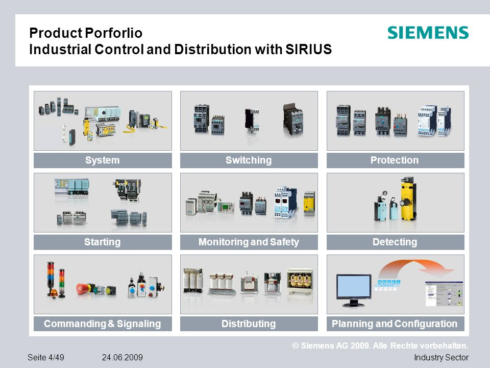 © Siemens AG 2009. Alle Rechte vorbehalten. Industry SectorSeite 4/4924.06.2009 Product Porforlio Industrial Control and Distribution with SIRIUS Syst