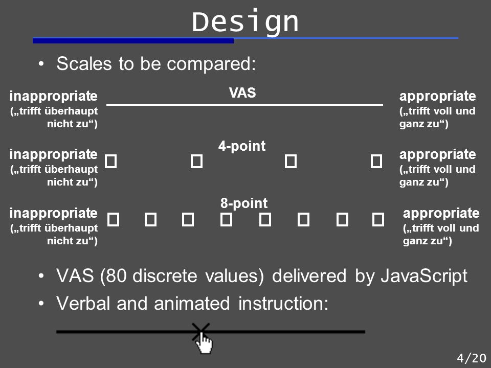 Scales to be compared: VAS (80 discrete values) delivered by JavaScript Verbal and animated instruction: inappropriate (trifft überhaupt nicht zu) app