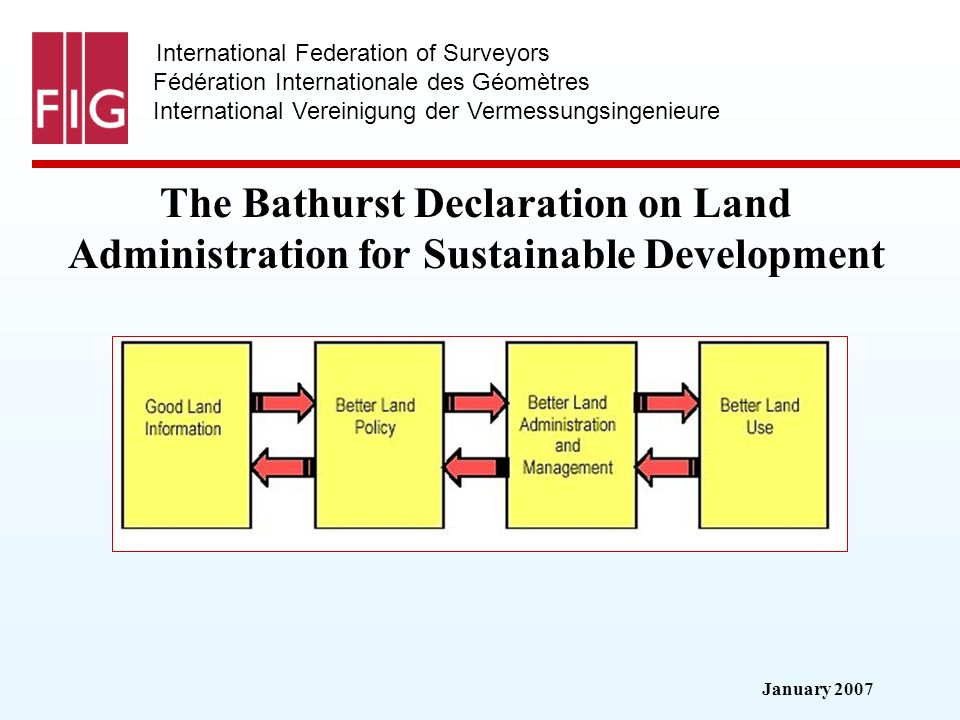 January 2007 International Federation of Surveyors Fédération Internationale des Géomètres International Vereinigung der Vermessungsingenieure The Bathurst Declaration on Land Administration for Sustainable Development