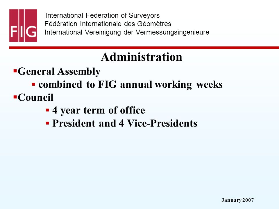 January 2007 International Federation of Surveyors Fédération Internationale des Géomètres International Vereinigung der Vermessungsingenieure Adminis