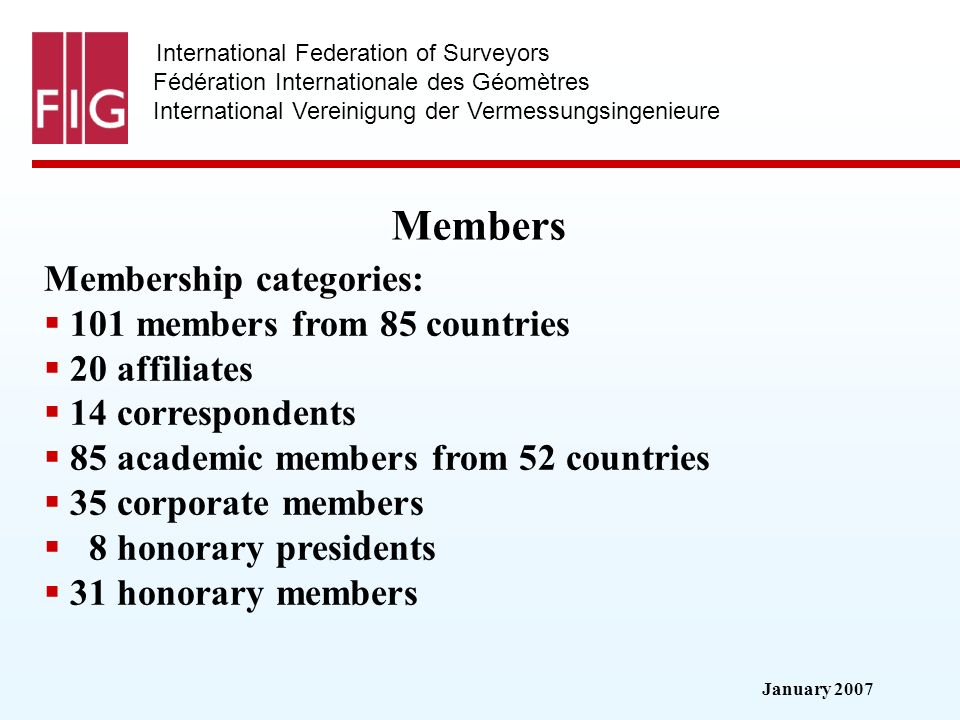 January 2007 International Federation of Surveyors Fédération Internationale des Géomètres International Vereinigung der Vermessungsingenieure Members Membership categories: 101 members from 85 countries 20 affiliates 14 correspondents 85 academic members from 52 countries 35 corporate members 8 honorary presidents 31 honorary members
