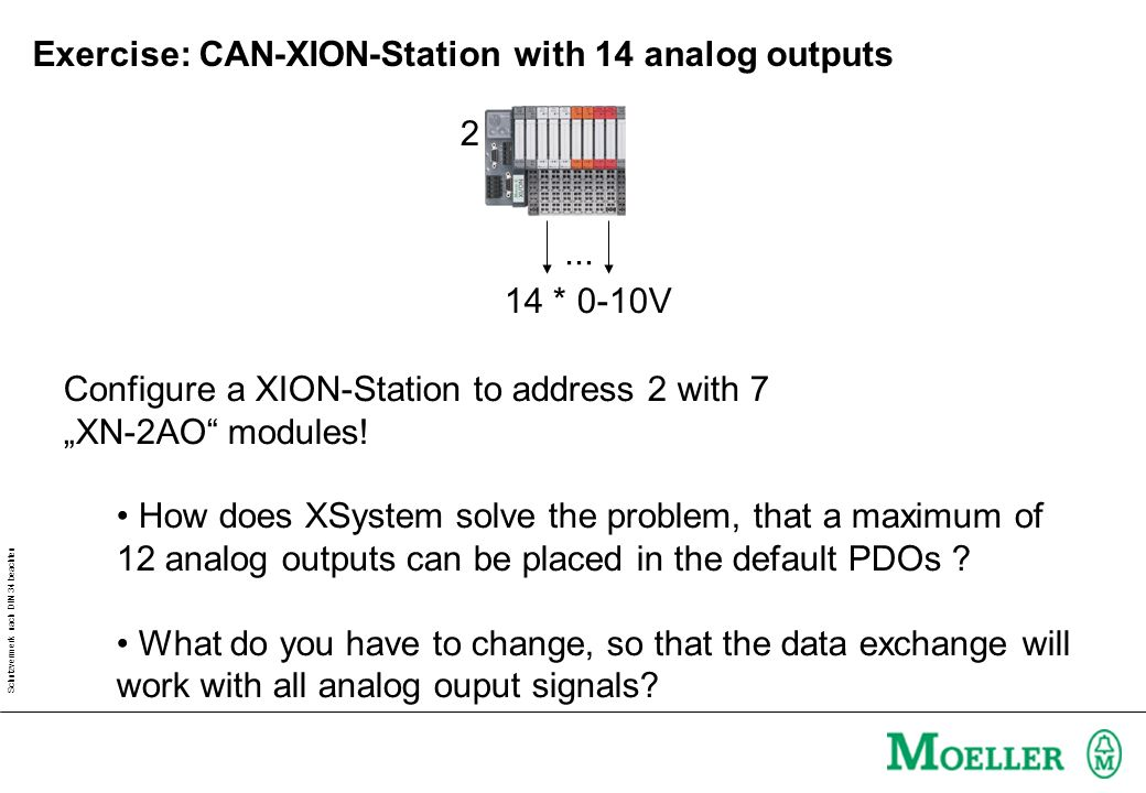 Schutzvermerk nach DIN 34 beachten Exercise: CAN-XION-Station with 14 analog outputs Configure a XION-Station to address 2 with 7 XN-2AO modules.