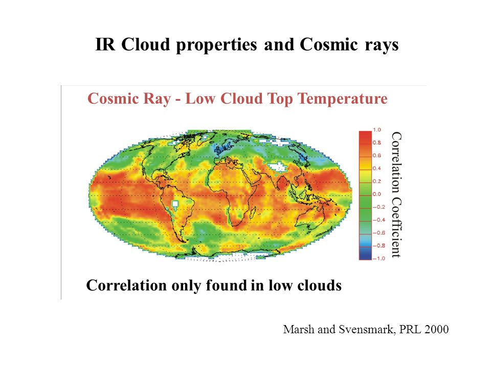 Cosmic Ray - Low Cloud Top Temperature Marsh and Svensmark, PRL 2000 Correlation only found in low clouds IR Cloud properties and Cosmic rays