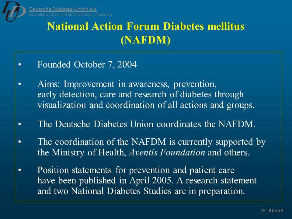 Deutsche Diabetes-Union e.V. Diabetes und seine Komplikationen verhindern E. Standl National Action Forum Diabetes mellitus (NAFDM) Founded October 7,