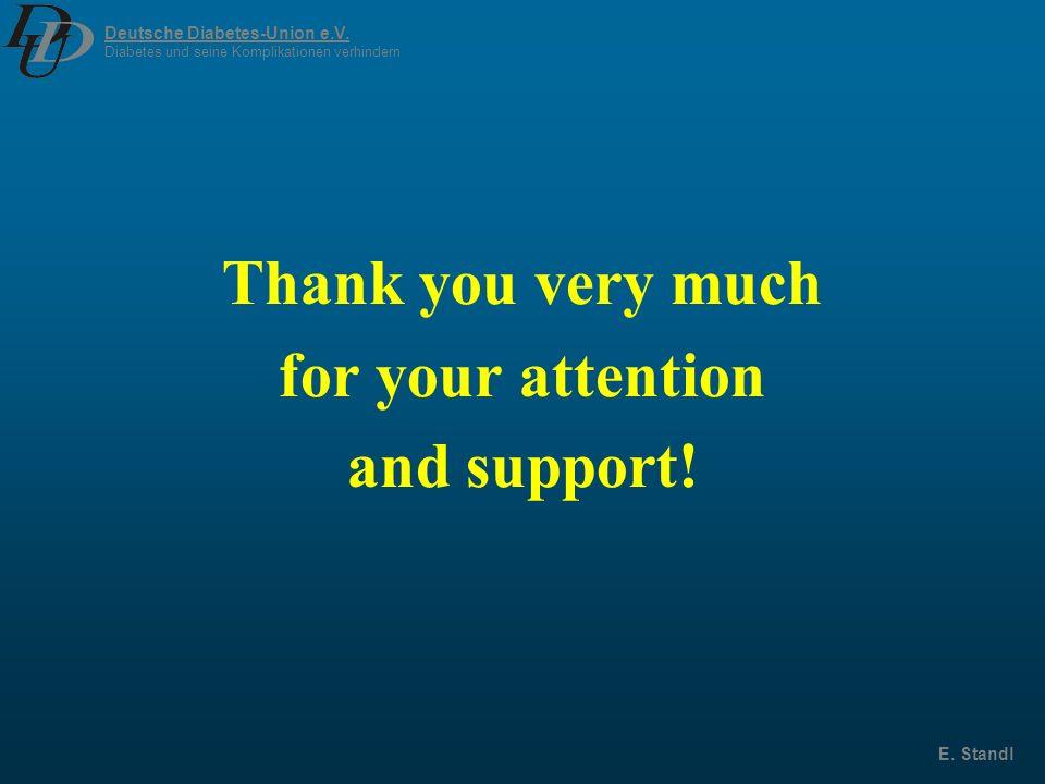 Deutsche Diabetes-Union e.V. Diabetes und seine Komplikationen verhindern E. Standl Thank you very much for your attention and support!