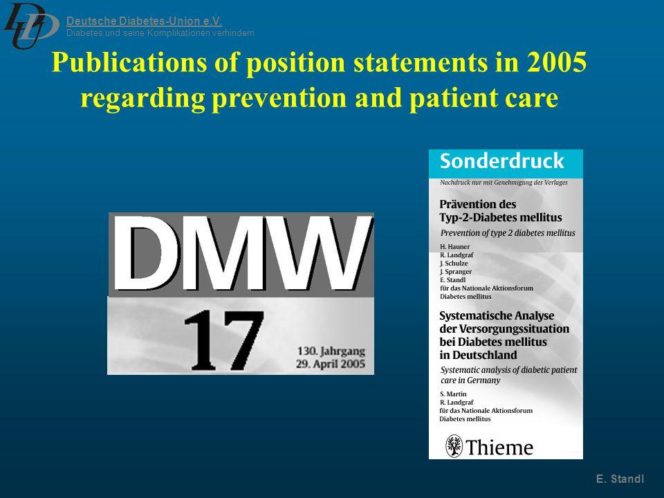 Deutsche Diabetes-Union e.V. Diabetes und seine Komplikationen verhindern E. Standl Publications of position statements in 2005 regarding prevention a
