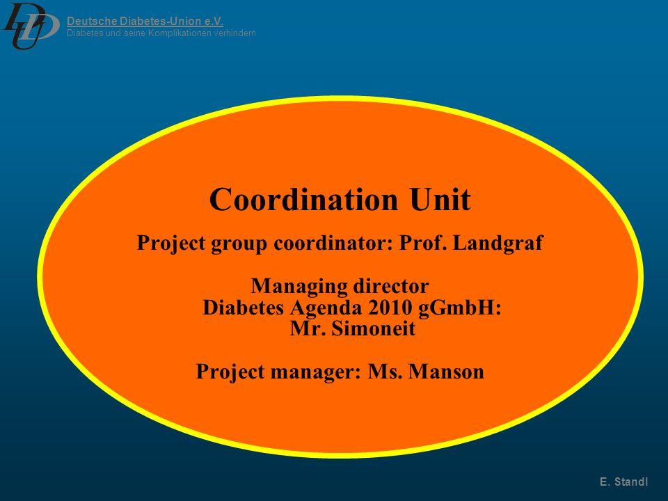 Deutsche Diabetes-Union e.V. Diabetes und seine Komplikationen verhindern E. Standl Coordination Unit Project group coordinator: Prof. Landgraf Managi