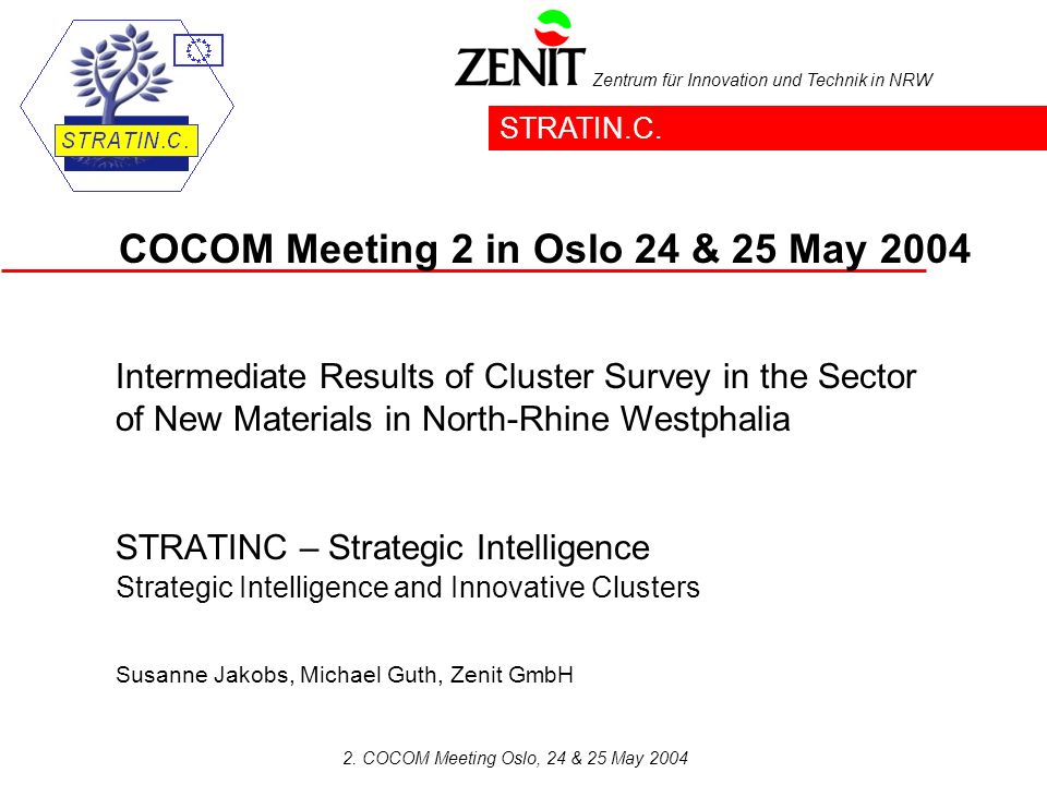 Zentrum für Innovation und Technik in NRW 2. COCOM Meeting Oslo, 24 & 25 May 2004 STRATINC – Strategic Intelligence Strategic Intelligence and Innovat