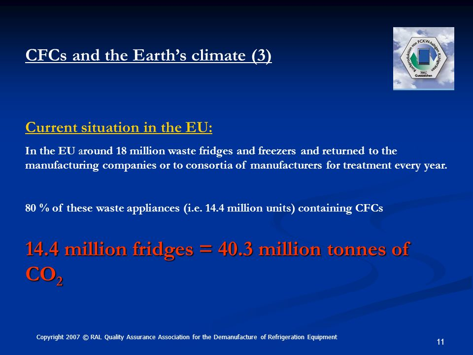 11 CFCs and the Earths climate (3) Current situation in the EU: In the EU around 18 million waste fridges and freezers and returned to the manufacturi