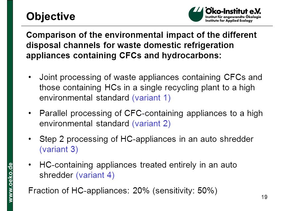 www.oeko.de 19 Objective Joint processing of waste appliances containing CFCs and those containing HCs in a single recycling plant to a high environme