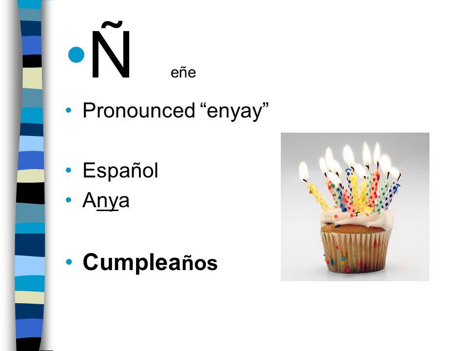 Ñ eñe Pronounced enyay Español Anya Cumplea ños
