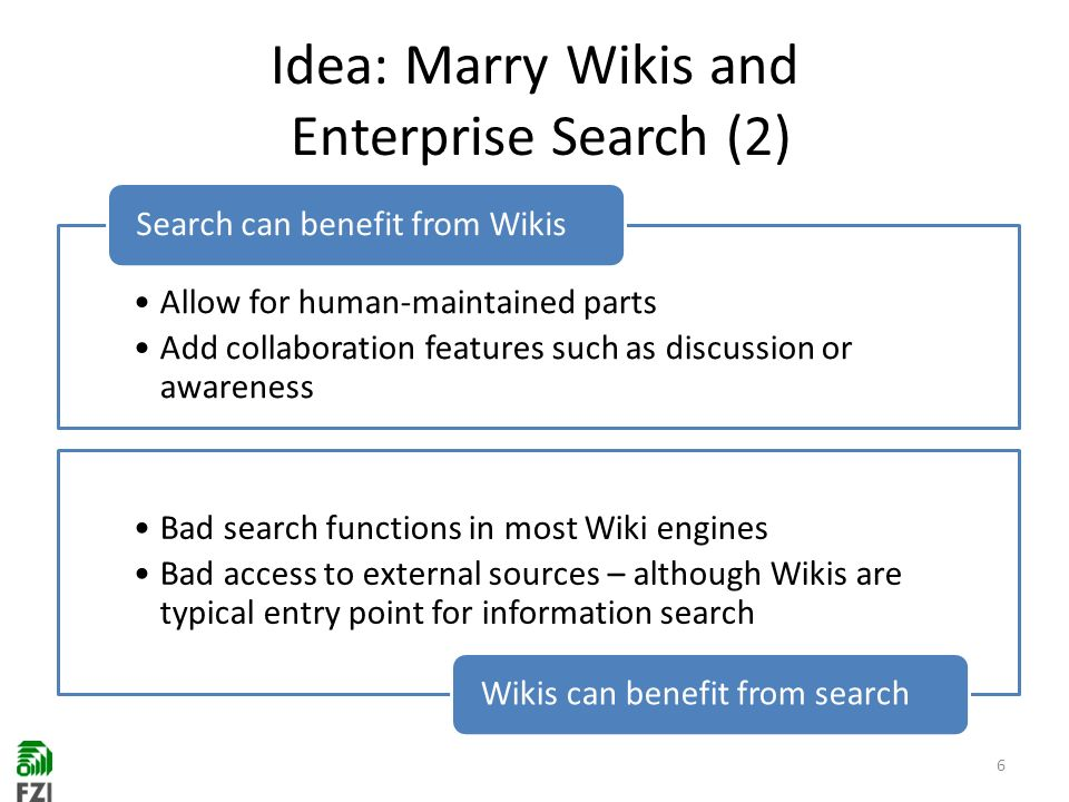 Idea: Marry Wikis and Enterprise Search (2) 6 Allow for human-maintained parts Add collaboration features such as discussion or awareness Search can benefit from Wikis Bad search functions in most Wiki engines Bad access to external sources – although Wikis are typical entry point for information search Wikis can benefit from search
