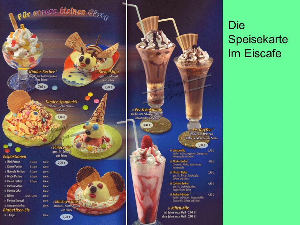 Die Speisekarte Im Eiscafe