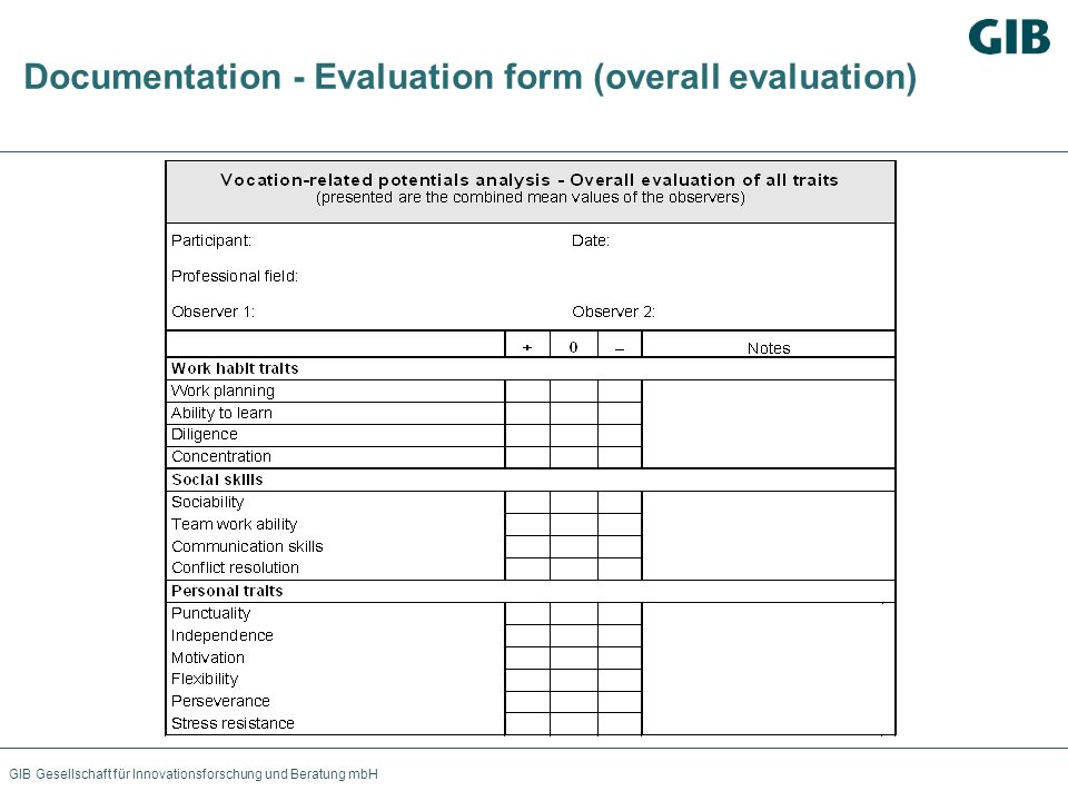 GIB Gesellschaft für Innovationsforschung und Beratung mbH Documentation - Evaluation form (overall evaluation)