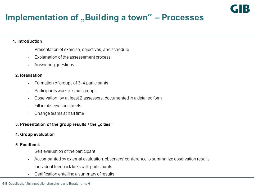 GIB Gesellschaft für Innovationsforschung und Beratung mbH Implementation of Building a town – Processes 1. Introduction -Presentation of exercise, ob