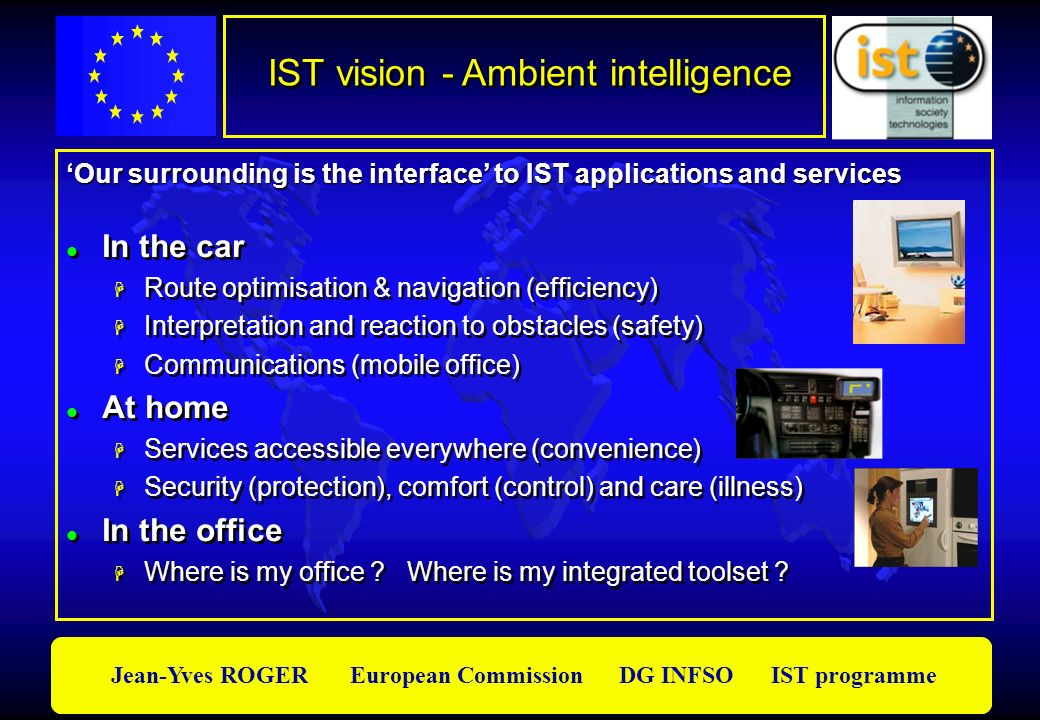 Jean-Yves ROGER European Commission DG INFSO IST programme IST vision - Ambient intelligence In the car Route optimisation & navigation (efficiency) I