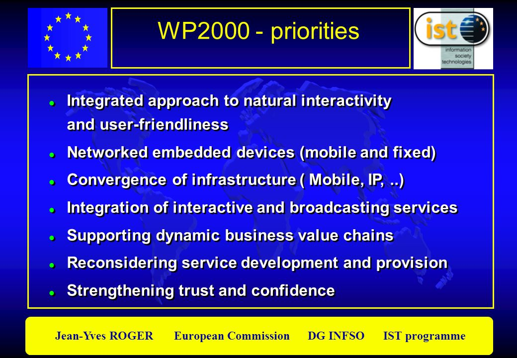 Jean-Yves ROGER European Commission DG INFSO IST programme WP2000 - priorities Integrated approach to natural interactivity and user-friendliness Netw