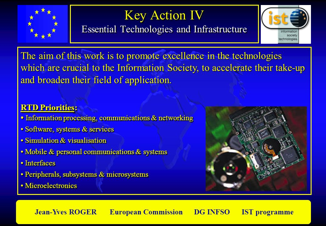 Jean-Yves ROGER European Commission DG INFSO IST programme Key Action IV Essential Technologies and Infrastructure The aim of this work is to promote