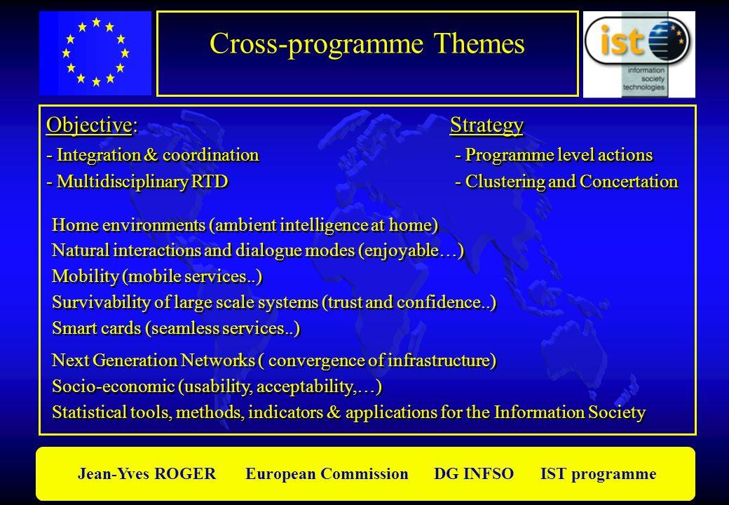 Jean-Yves ROGER European Commission DG INFSO IST programme Objective:Strategy - Integration & coordination - Programme level actions - Multidisciplina