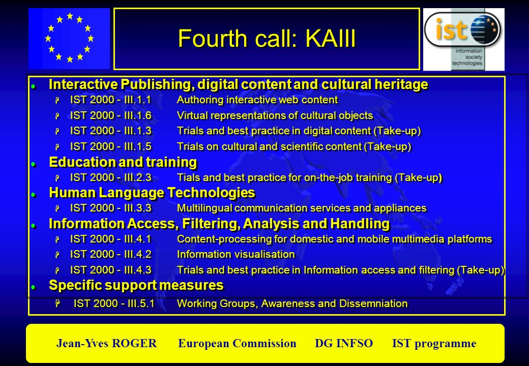 Jean-Yves ROGER European Commission DG INFSO IST programme Fourth call: KAIII Interactive Publishing, digital content and cultural heritage IST 2000 -