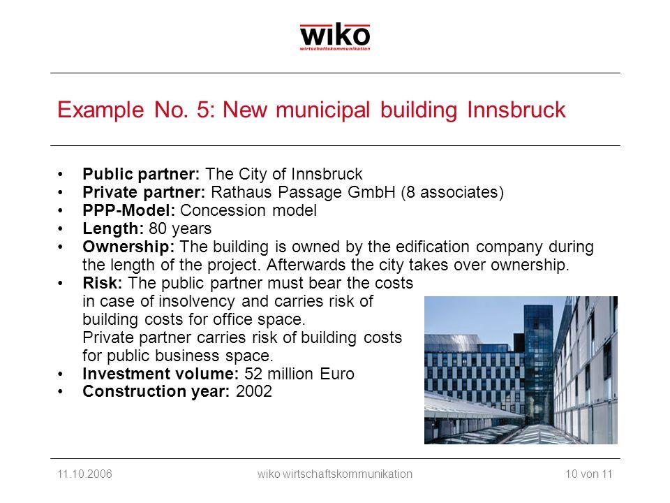 11.10.2006wiko wirtschaftskommunikation Example No. 5: New municipal building Innsbruck Public partner: The City of Innsbruck Private partner: Rathaus