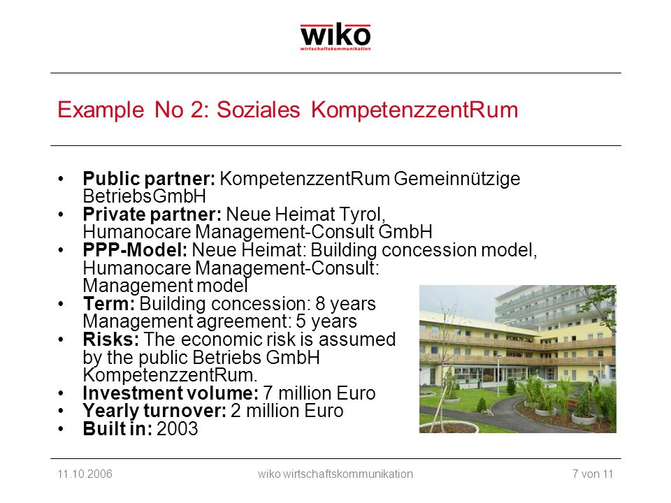 11.10.2006wiko wirtschaftskommunikation Example No 2: Soziales KompetenzzentRum Public partner: KompetenzzentRum Gemeinnützige BetriebsGmbH Private partner: Neue Heimat Tyrol, Humanocare Management-Consult GmbH PPP-Model: Neue Heimat: Building concession model, Humanocare Management-Consult: Management model Term: Building concession: 8 years Management agreement: 5 years Risks: The economic risk is assumed by the public Betriebs GmbH KompetenzzentRum.