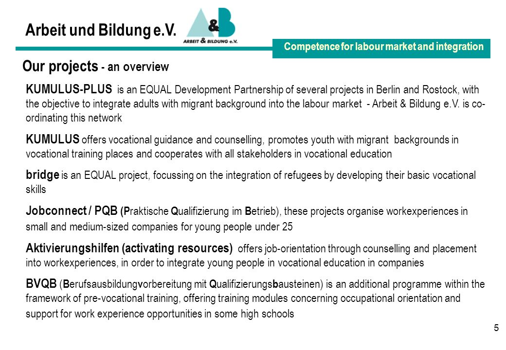 5 Arbeit und Bildung e.V. Competence for labour market and integration Our projects - an overview KUMULUS-PLUS is an EQUAL Development Partnership of