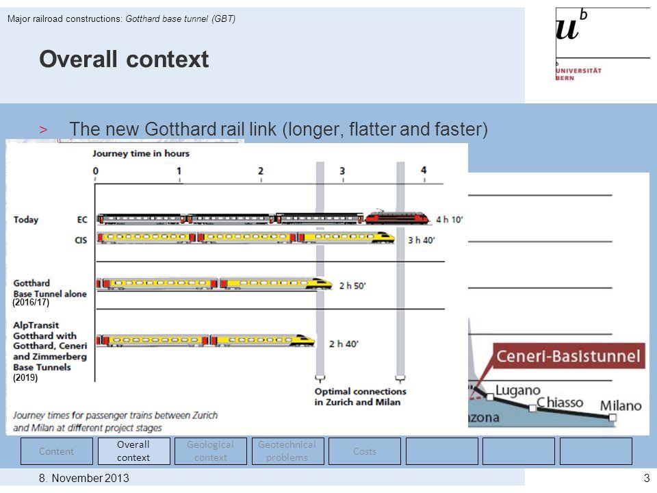 8. November 2013 Major railroad constructions: Gotthard base tunnel (GBT) 3 Overall context > The new Gotthard rail link (longer, flatter and faster)